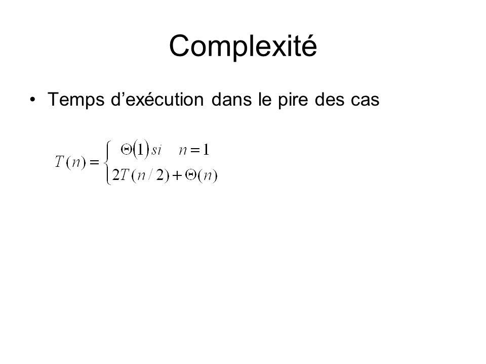 Complexité Temps dexécution dans le pire des cas