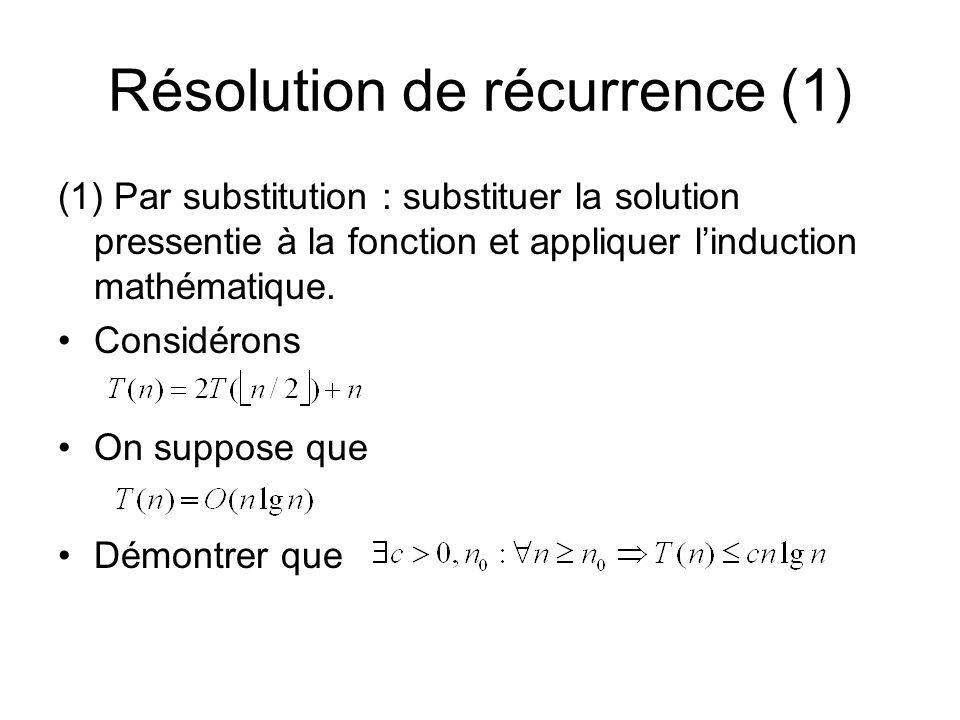 Résolution de récurrence (1) (1) Par substitution : substituer la solution pressentie à la fonction et appliquer linduction mathématique.