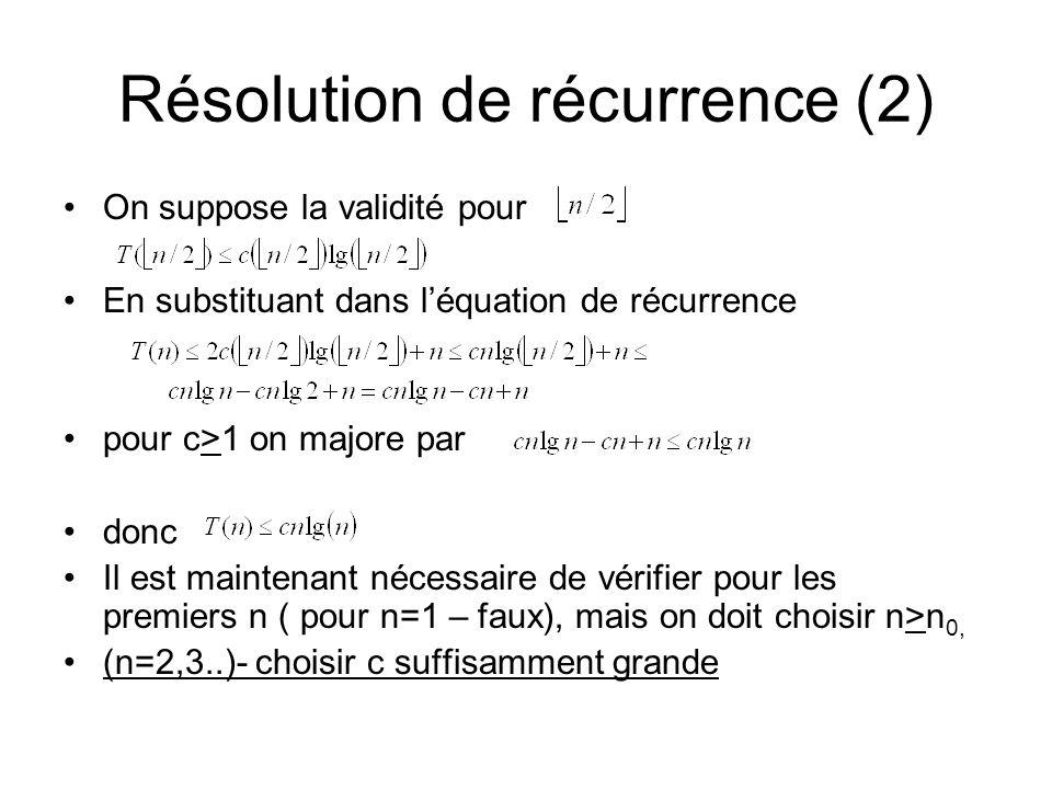 Résolution de récurrence (2) On suppose la validité pour En substituant dans léquation de récurrence pour c>1 on majore par donc Il est maintenant nécessaire de vérifier pour les premiers n ( pour n=1 – faux), mais on doit choisir n>n 0, (n=2,3..)- choisir c suffisamment grande