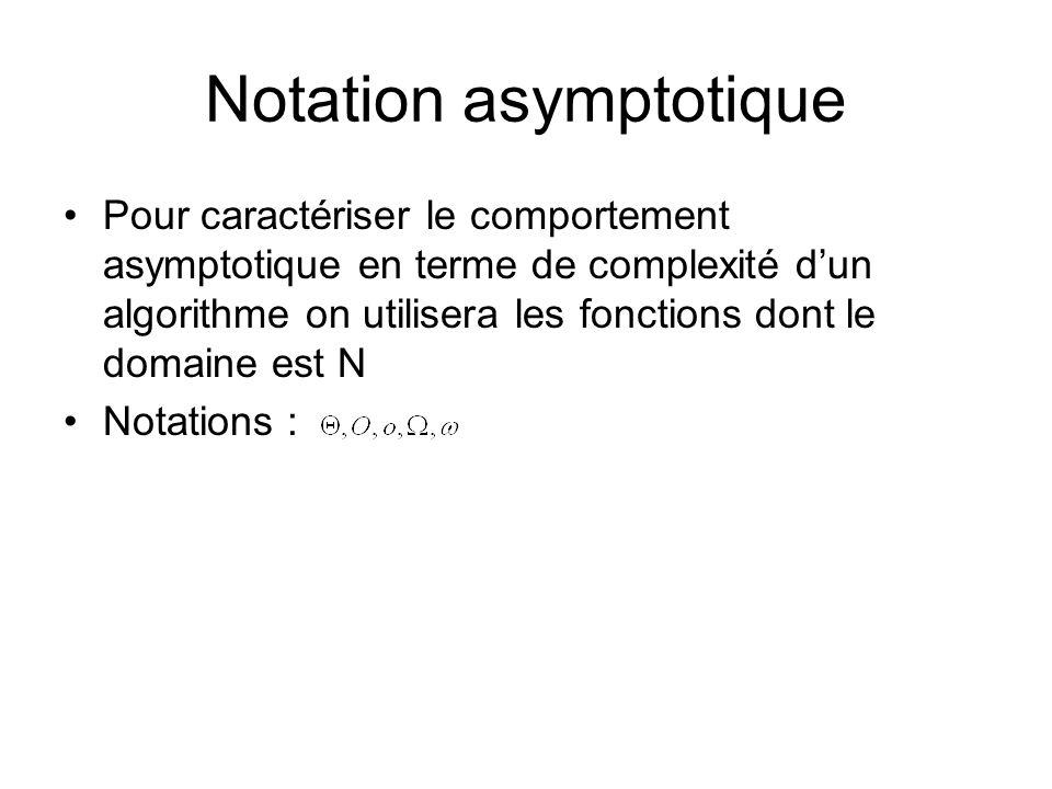 Notation asymptotique Pour caractériser le comportement asymptotique en terme de complexité dun algorithme on utilisera les fonctions dont le domaine est N Notations :
