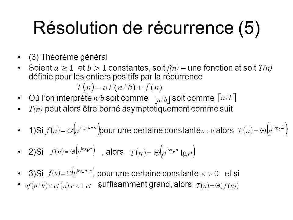 Résolution de récurrence (5)