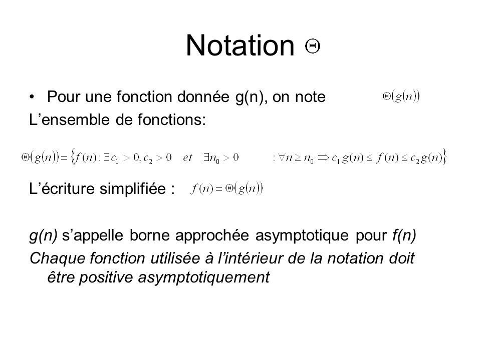Notation Pour une fonction donnée g(n), on note Lensemble de fonctions: Lécriture simplifiée : g(n) sappelle borne approchée asymptotique pour f(n) Chaque fonction utilisée à lintérieur de la notation doit être positive asymptotiquement