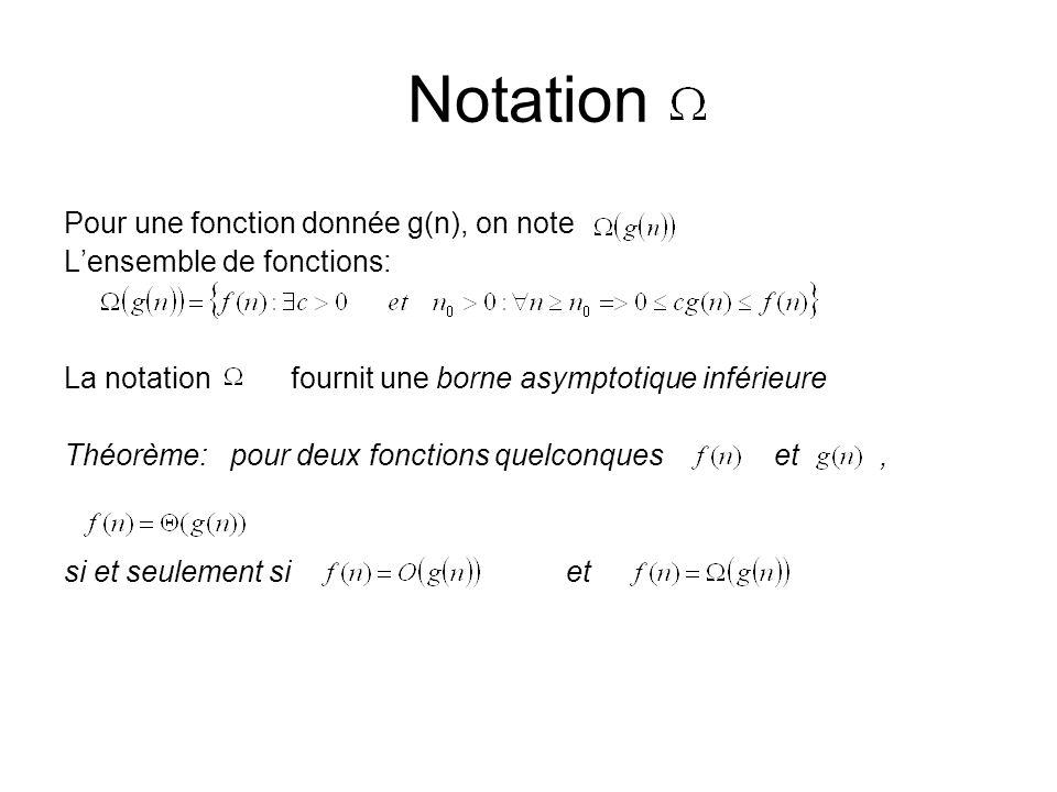 Notation Pour une fonction donnée g(n), on note Lensemble de fonctions: La notation fournit une borne asymptotique inférieure Théorème: pour deux fonctions quelconques et, si et seulement si et