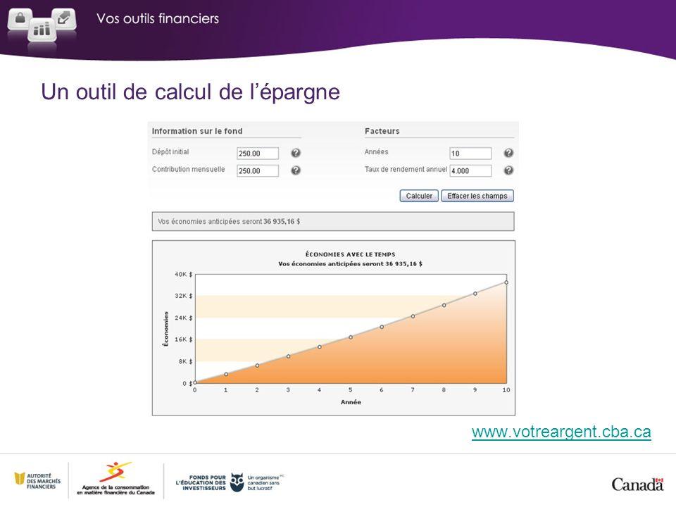 Un outil de calcul de lépargne www.votreargent.cba.ca