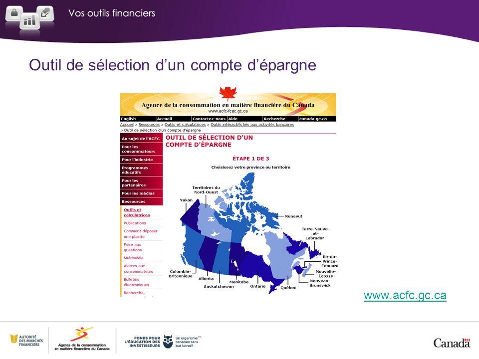 Outil de sélection dun compte dépargne www.acfc.gc.ca