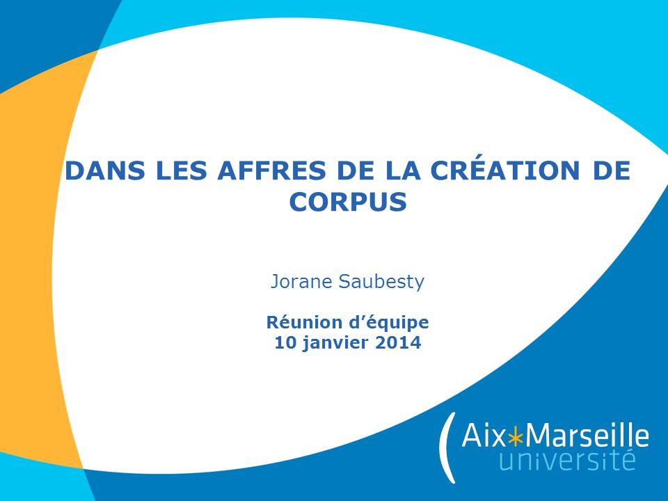 DANS LES AFFRES DE LA CRÉATION DE CORPUS Jorane Saubesty Réunion déquipe 10 janvier 2014