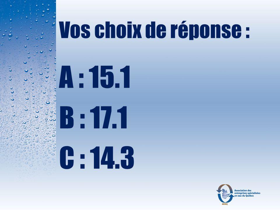 Réponse : B : 17.1 mg/L parce que le grain est une ancienne mesure anglaise qui équivaut à 64,8 mg.