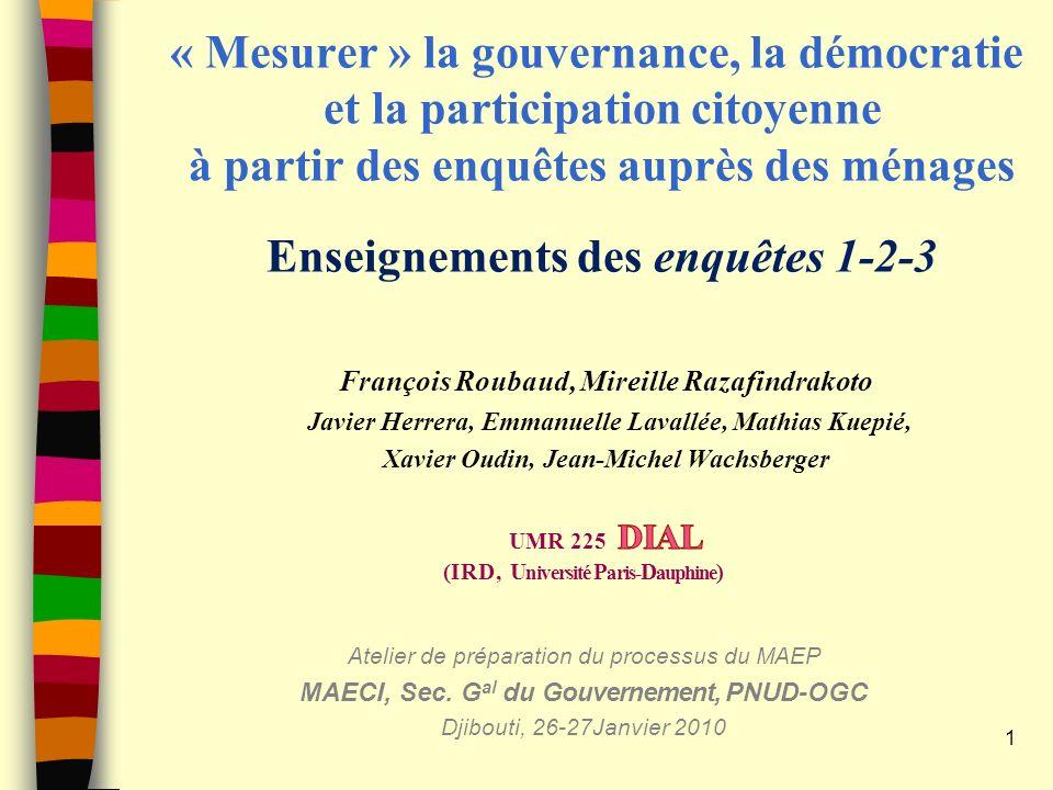 « Mesurer » la gouvernance, la démocratie et la participation citoyenne à partir des enquêtes auprès des ménages Enseignements des enquêtes 1-2-3 1