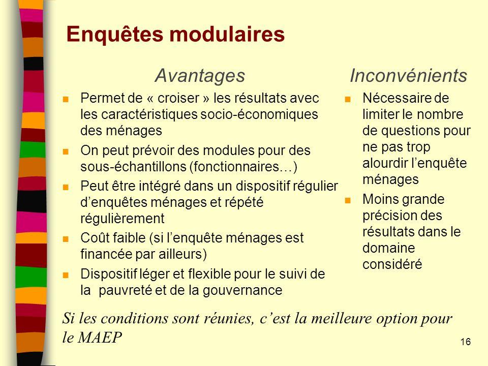 Enquêtes modulaires Avantages n Permet de « croiser » les résultats avec les caractéristiques socio-économiques des ménages n On peut prévoir des modu
