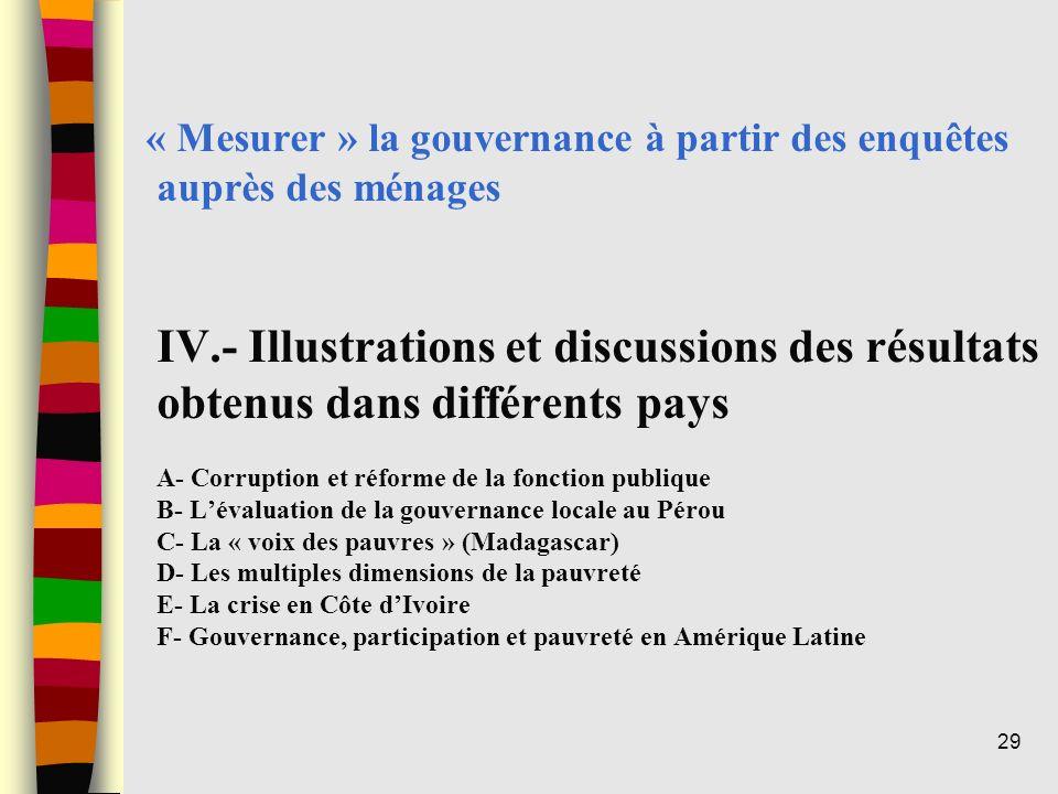« Mesurer » la gouvernance à partir des enquêtes auprès des ménages IV.- Illustrations et discussions des résultats obtenus dans différents pays A- Co