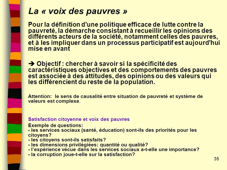 La « voix des pauvres » processus participatif Pour la définition d'une politique efficace de lutte contre la pauvreté, la démarche consistant à recue