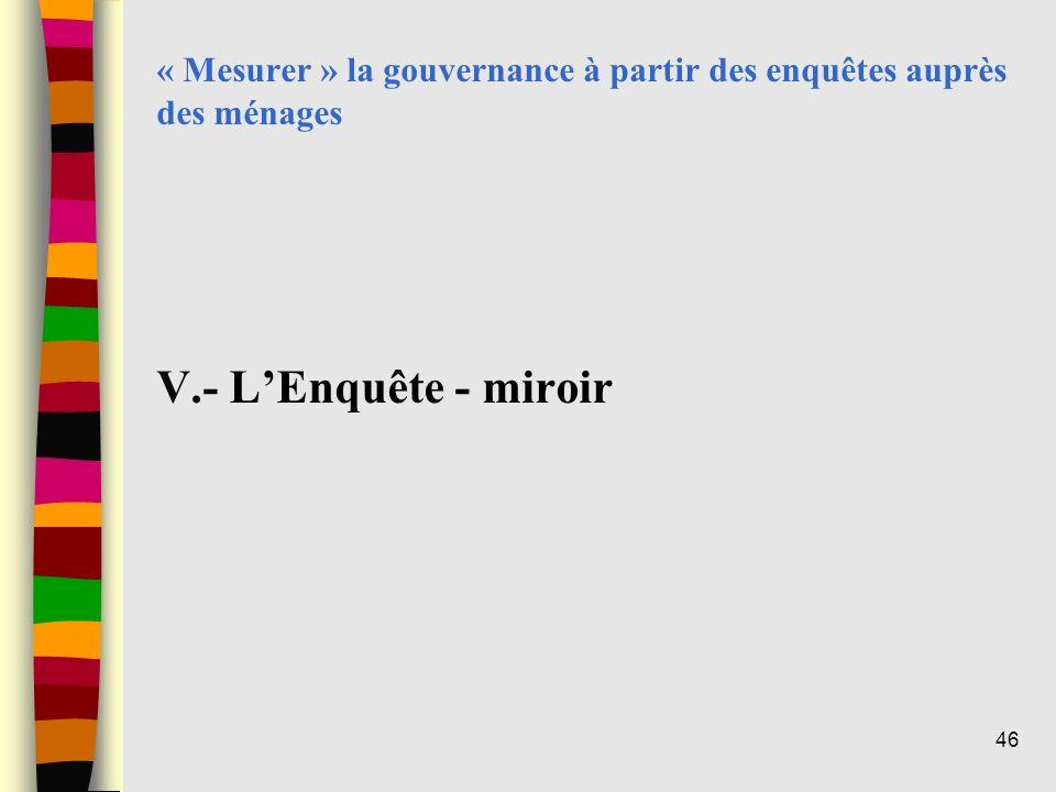 « Mesurer » la gouvernance à partir des enquêtes auprès des ménages V.- LEnquête - miroir 46