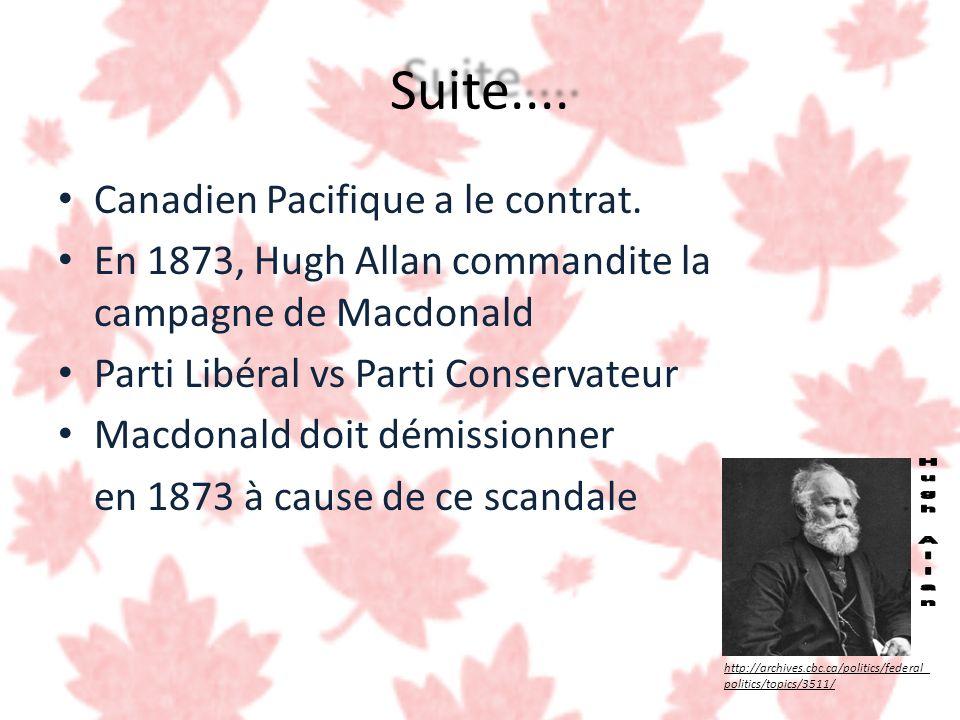 Suite.... Canadien Pacifique a le contrat. En 1873, Hugh Allan commandite la campagne de Macdonald Parti Libéral vs Parti Conservateur Macdonald doit