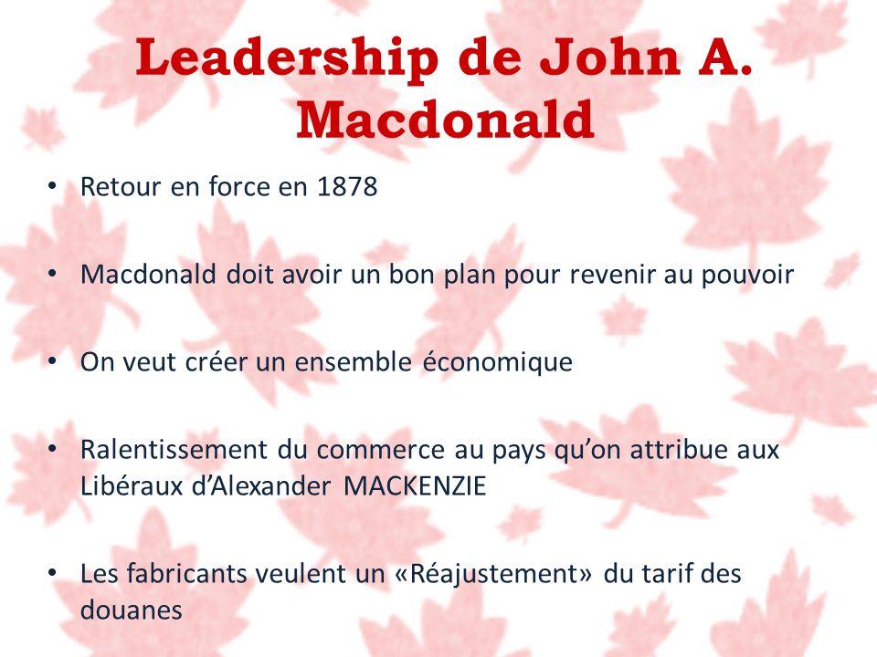 Retour en force en 1878 Macdonald doit avoir un bon plan pour revenir au pouvoir On veut créer un ensemble économique Ralentissement du commerce au pa