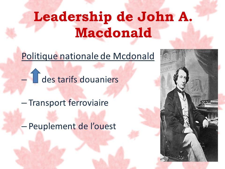 Politique nationale de Mcdonald – des tarifs douaniers – Transport ferroviaire – Peuplement de louest Leadership de John A. Macdonald