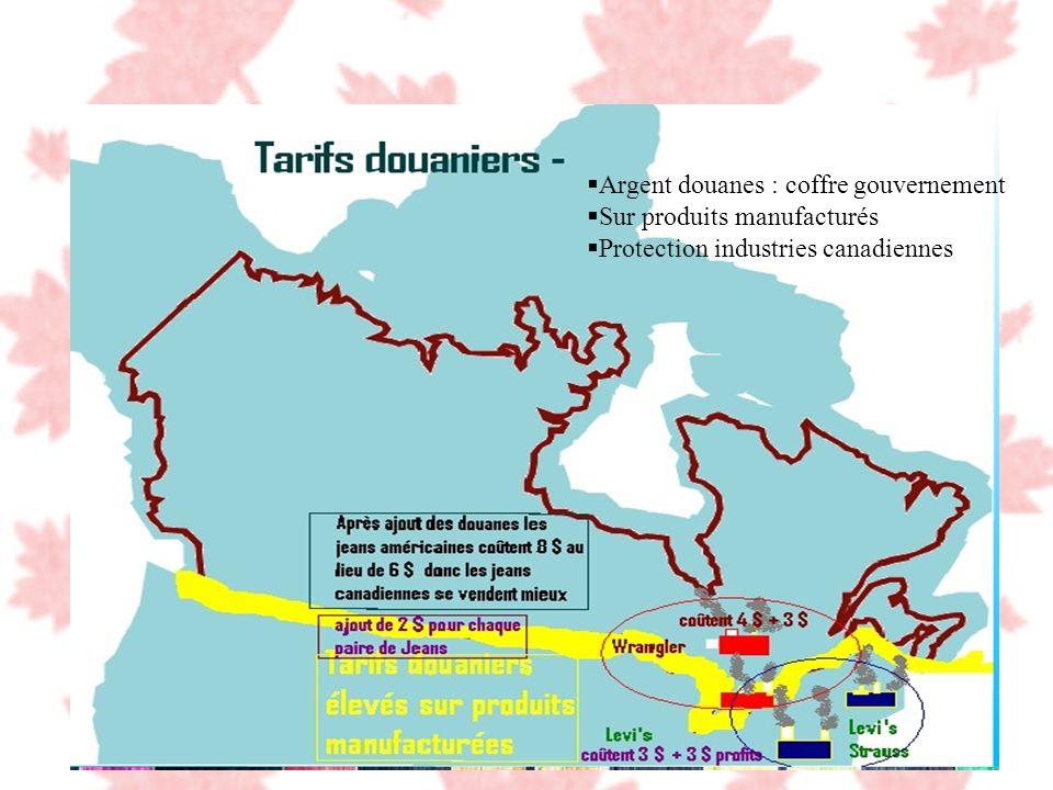 Argent douanes : coffre gouvernement Sur produits manufacturés Protection industries canadiennes