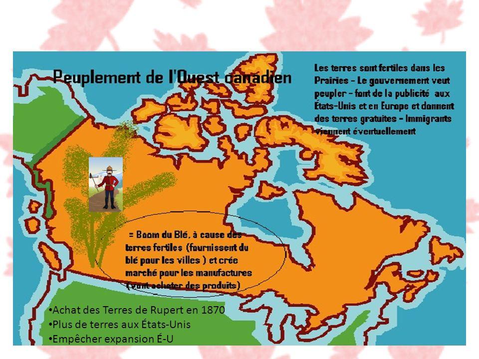 Achat des Terres de Rupert en 1870 Plus de terres aux États-Unis Empêcher expansion É-U