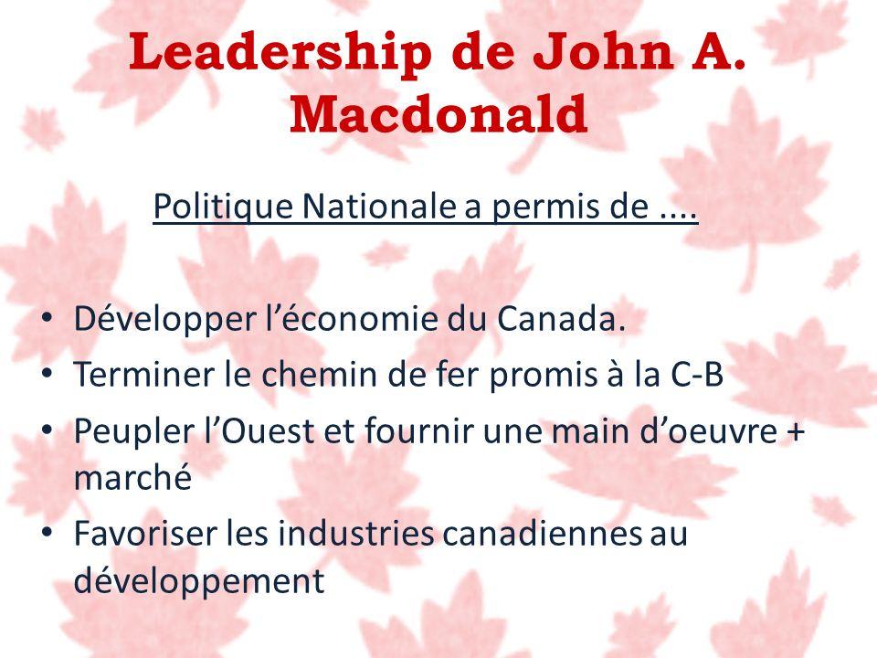 Politique Nationale a permis de.... Développer léconomie du Canada. Terminer le chemin de fer promis à la C-B Peupler lOuest et fournir une main doeuv