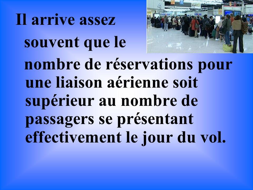 Il arrive assez souvent que le nombre de réservations pour une liaison aérienne soit supérieur au nombre de passagers se présentant effectivement le jour du vol.