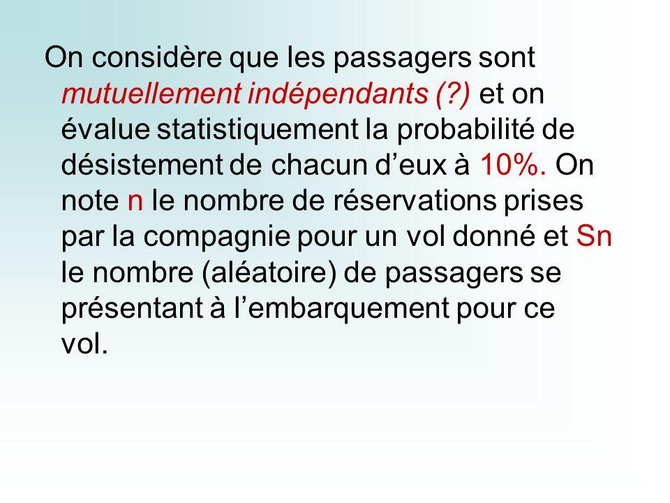 On considère que les passagers sont mutuellement indépendants (?) et on évalue statistiquement la probabilité de désistement de chacun deux à 10%.
