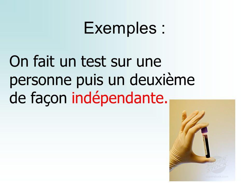 Exemples : On fait un test sur une personne puis un deuxième de façon indépendante.