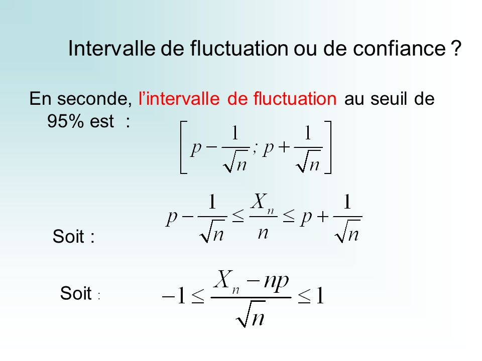 Intervalle de fluctuation ou de confiance ? En seconde, lintervalle de fluctuation au seuil de 95% est : Soit :