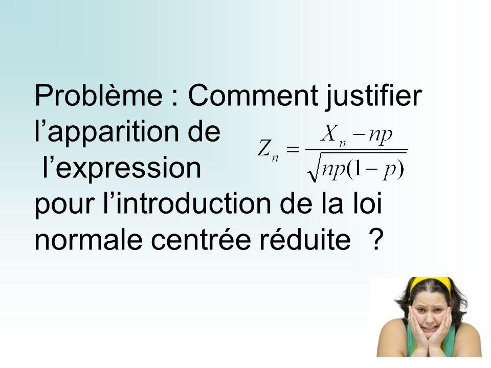 Problème : Comment justifier lapparition de lexpression pour lintroduction de la loi normale centrée réduite ?