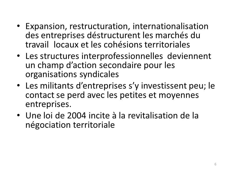Expansion, restructuration, internationalisation des entreprises déstructurent les marchés du travail locaux et les cohésions territoriales Les struct