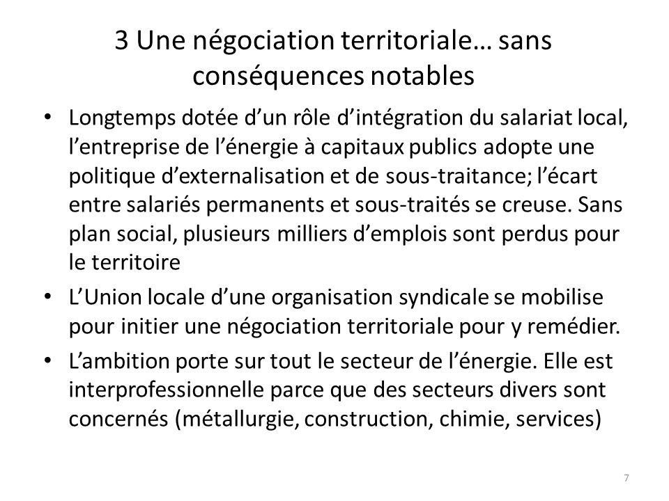 3 Une négociation territoriale… sans conséquences notables Longtemps dotée dun rôle dintégration du salariat local, lentreprise de lénergie à capitaux
