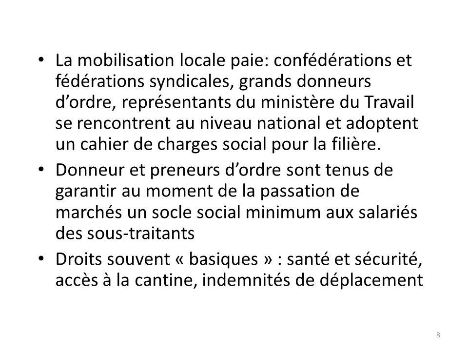 8 La mobilisation locale paie: confédérations et fédérations syndicales, grands donneurs dordre, représentants du ministère du Travail se rencontrent