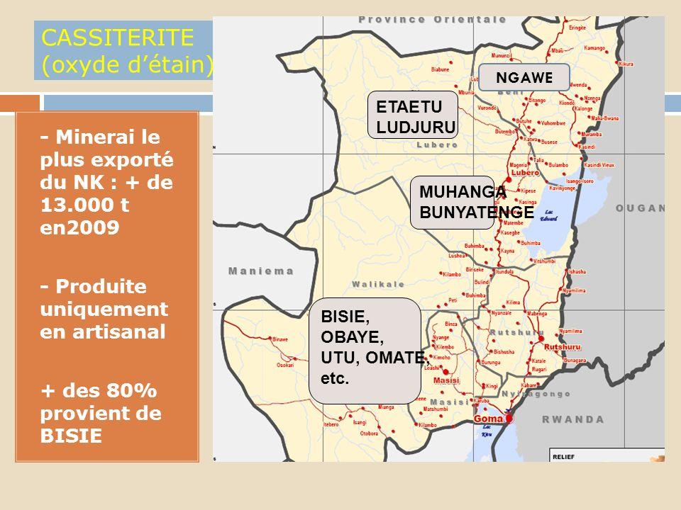 1. - Existant uniquement au Nord-Kivu avec des réserves estimées les plus importantes au monde( Lueshe en Rutshuru et Bingo en Beni; - Lexploitation i