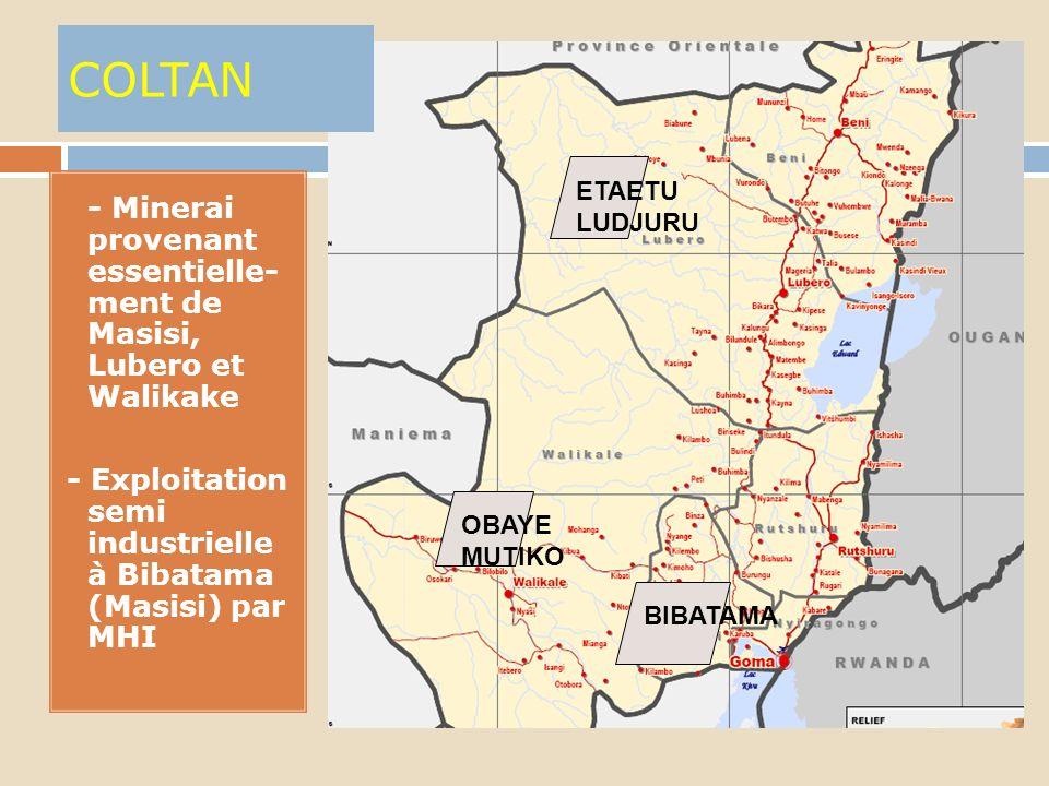 CASSITERITE (oxyde détain) 1. - Minerai le plus exporté du NK : + de 13.000 t en2009 2. - Produite uniquement en artisanal 3. + des 80% provient de BI