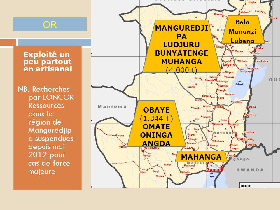 1. Reprise récente de son exploitation suite à la remontée des cours ETAETU LUDJURU (+2.000 t) OBAYE MUNDINDI (1.165 t) BISHASHA WOLFRAMITE (tungstène