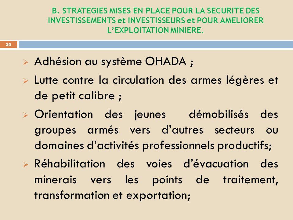 Création dun fond de développement de la province qui bientôt va permettre le traçage de la piste Logu-Bisie ; Installation dun bureau SAKIMA dans le PE 76 (ex C 57) à Ngungu; Renforcement des capacités de la SAESSCAM ; Plaidoyer en faveur de la réouverture des activités minières au Nord-Kivu et la traçabilité des minerais; Consolidation et accélération de la structuration de ladministration et de lexploitation minière.