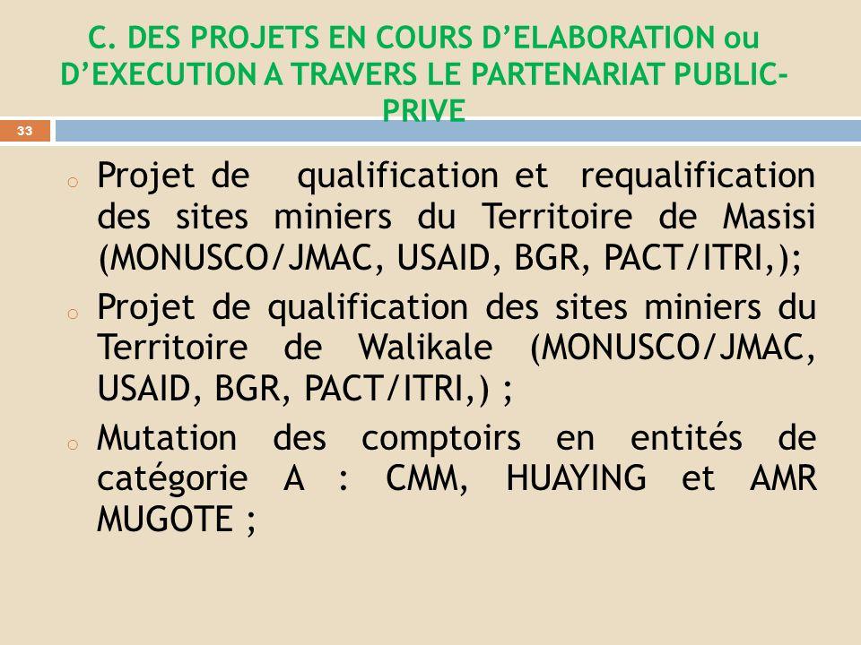 Renforcer les mécanismes anti-corruption dans ladministration minière et anti-fraude dans le circuit minier; Appuyer les micro-projets délectrificatio