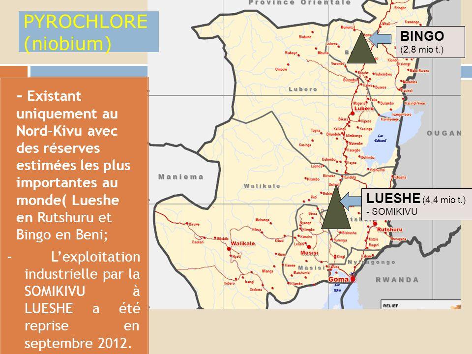 II.CARTOGRAPHIE MINIERE: Localisation de certains minerais au Nord-Kivu.