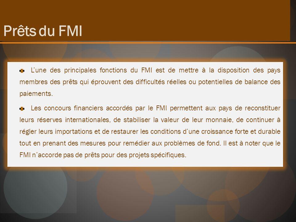 Lune des principales fonctions du FMI est de mettre à la disposition des pays membres des prêts qui éprouvent des difficultés réelles ou potentielles