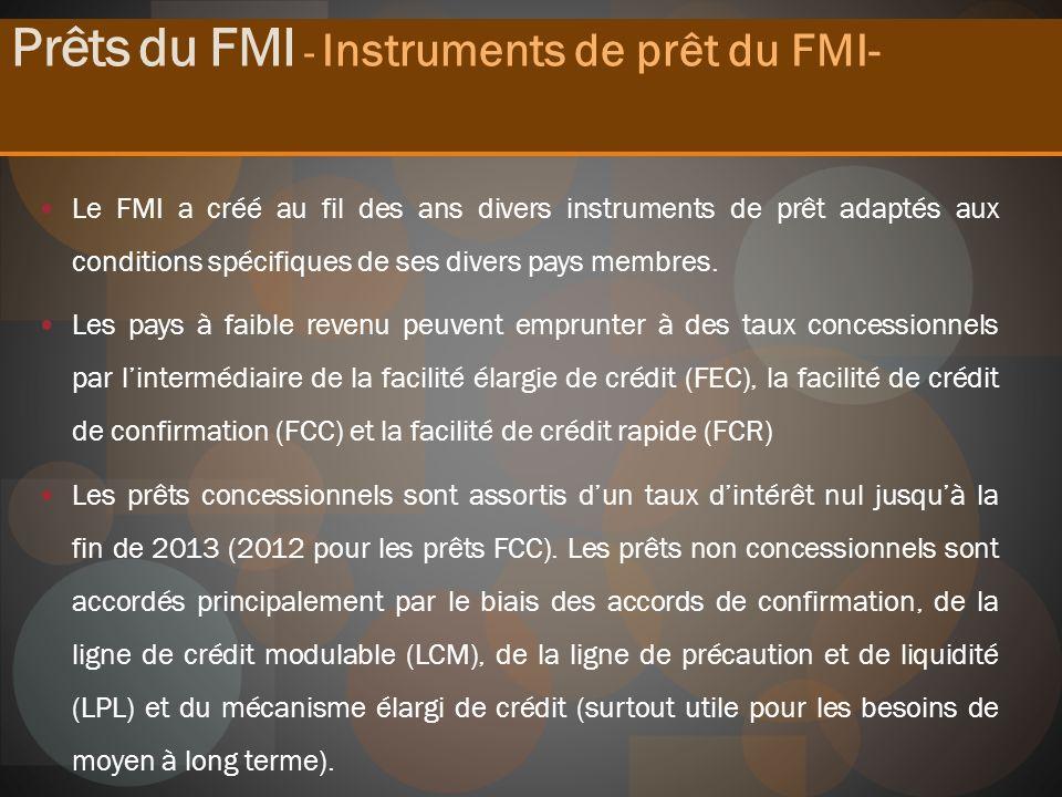 Le FMI a créé au fil des ans divers instruments de prêt adaptés aux conditions spécifiques de ses divers pays membres. Les pays à faible revenu peuven