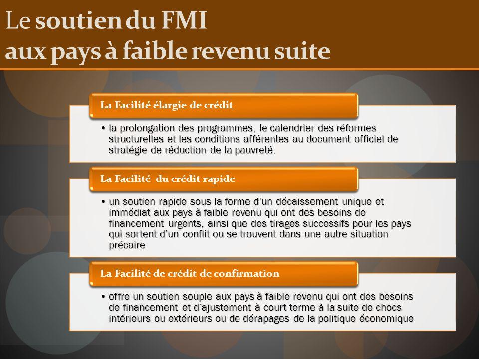 Le soutien du FMI aux pays à faible revenu suite la prolongation des programmes, le calendrier des réformes structurelles et les conditions afférentes