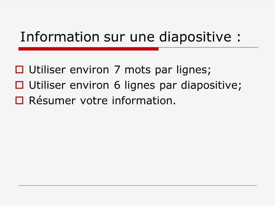 Information sur une diapositive : Utiliser environ 7 mots par lignes; Utiliser environ 6 lignes par diapositive; Résumer votre information.