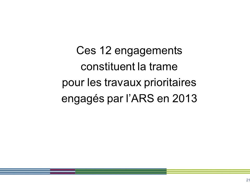 21 Ces 12 engagements constituent la trame pour les travaux prioritaires engagés par lARS en 2013