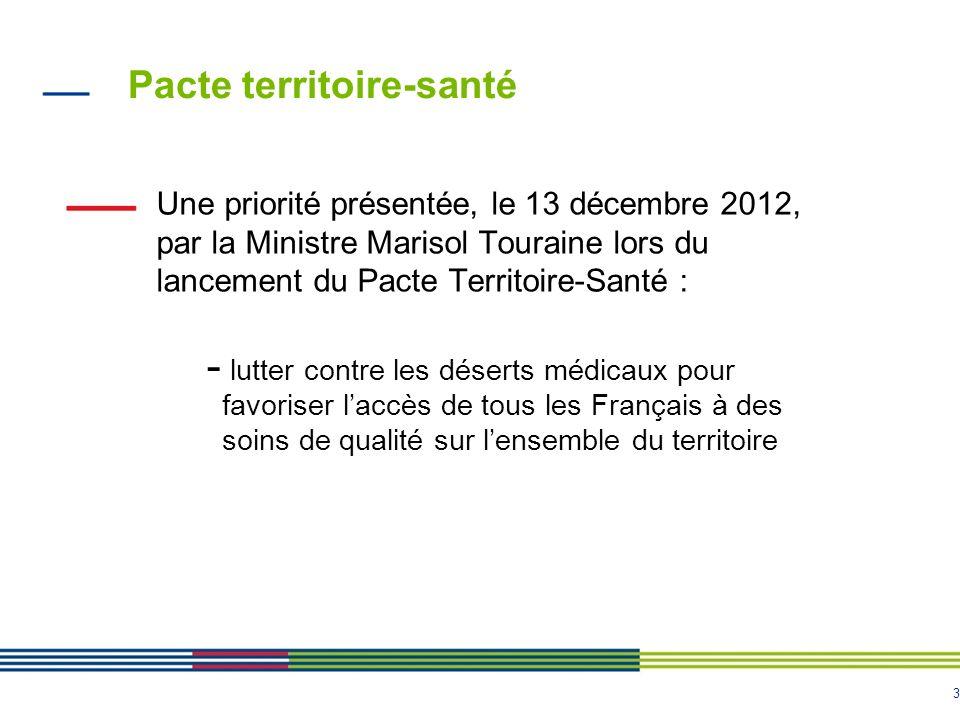 3 Pacte territoire-santé Une priorité présentée, le 13 décembre 2012, par la Ministre Marisol Touraine lors du lancement du Pacte Territoire-Santé : - lutter contre les déserts médicaux pour favoriser laccès de tous les Français à des soins de qualité sur lensemble du territoire