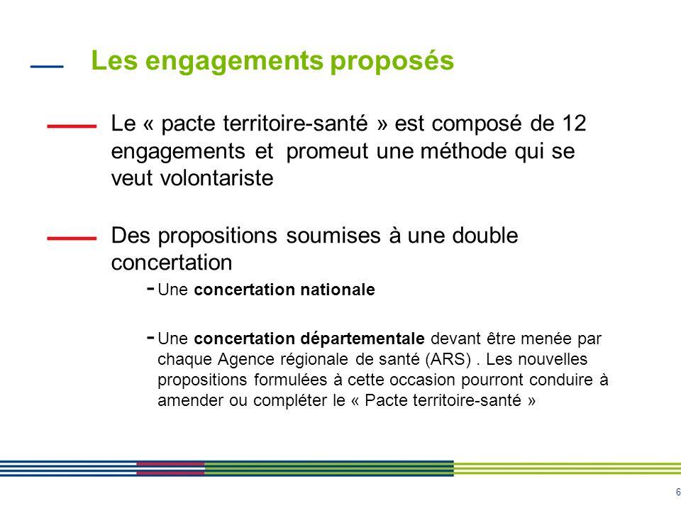 6 Les engagements proposés Le « pacte territoire-santé » est composé de 12 engagements et promeut une méthode qui se veut volontariste Des propositions soumises à une double concertation - Une concertation nationale - Une concertation départementale devant être menée par chaque Agence régionale de santé (ARS).