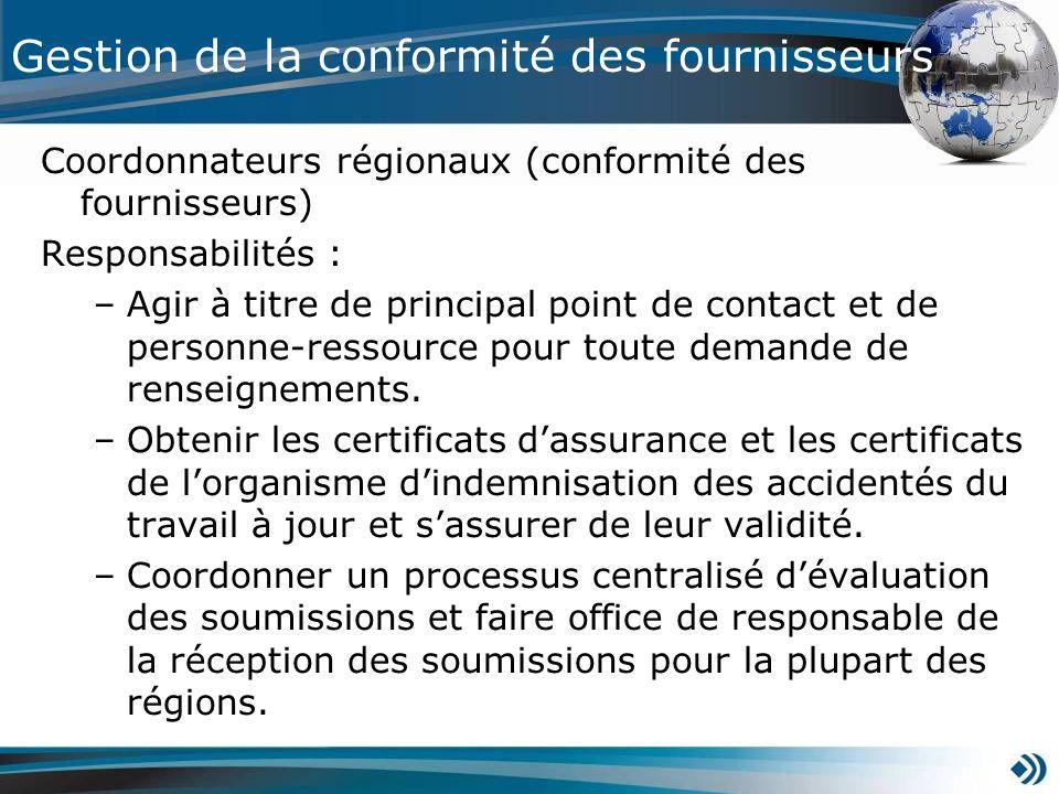 Coordonnateurs régionaux (conformité des fournisseurs) Responsabilités : –Agir à titre de principal point de contact et de personne-ressource pour tou