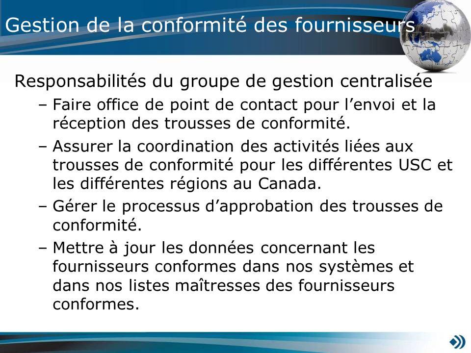 Responsabilités du groupe de gestion centralisée –Faire office de point de contact pour lenvoi et la réception des trousses de conformité. –Assurer la