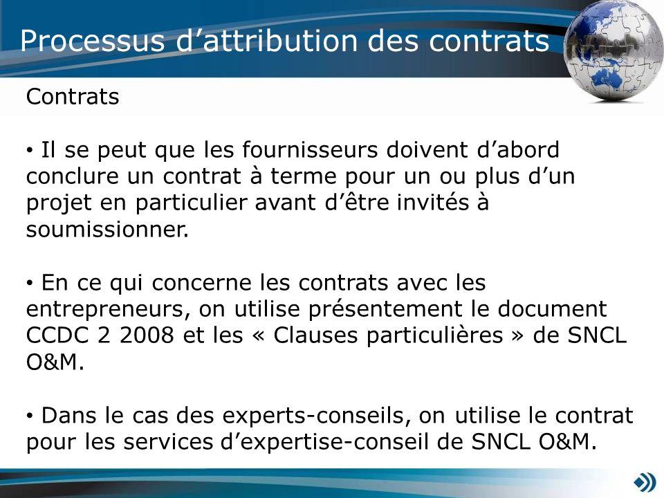 Processus dattribution des contrats Contrats Il se peut que les fournisseurs doivent dabord conclure un contrat à terme pour un ou plus dun projet en particulier avant dêtre invités à soumissionner.