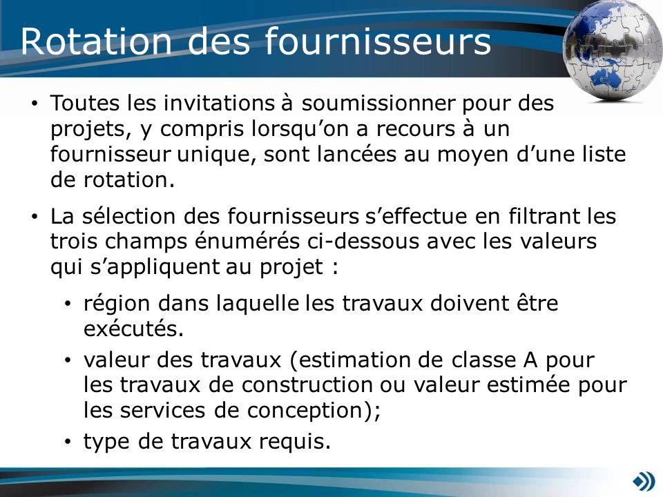 Rotation des fournisseurs Toutes les invitations à soumissionner pour des projets, y compris lorsquon a recours à un fournisseur unique, sont lancées au moyen dune liste de rotation.