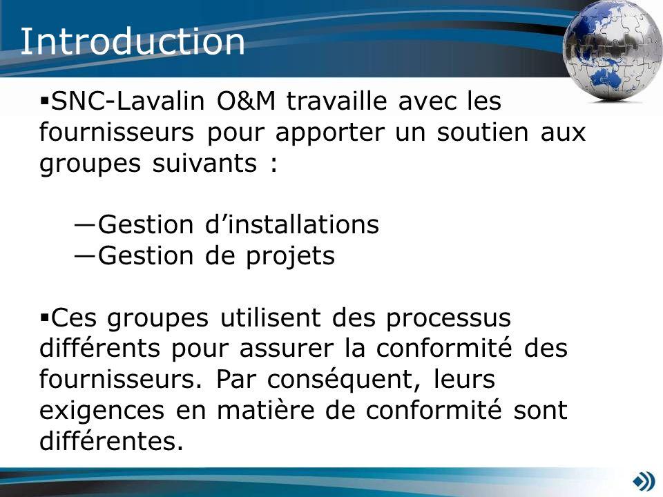 Introduction SNC-Lavalin O&M travaille avec les fournisseurs pour apporter un soutien aux groupes suivants : Gestion dinstallations Gestion de projets