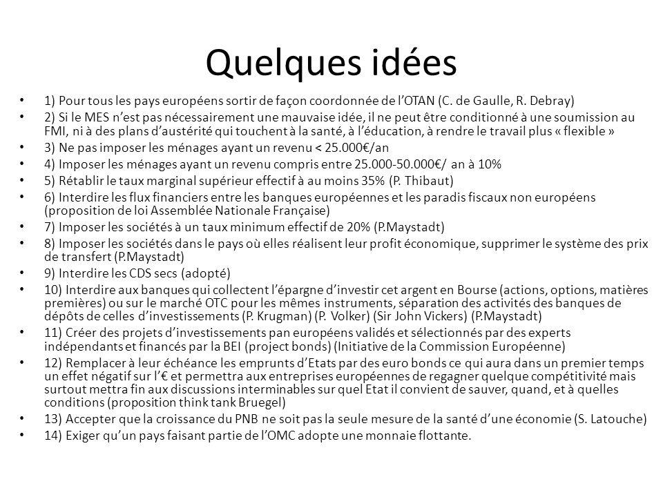 Quelques idées 1) Pour tous les pays européens sortir de façon coordonnée de lOTAN (C.