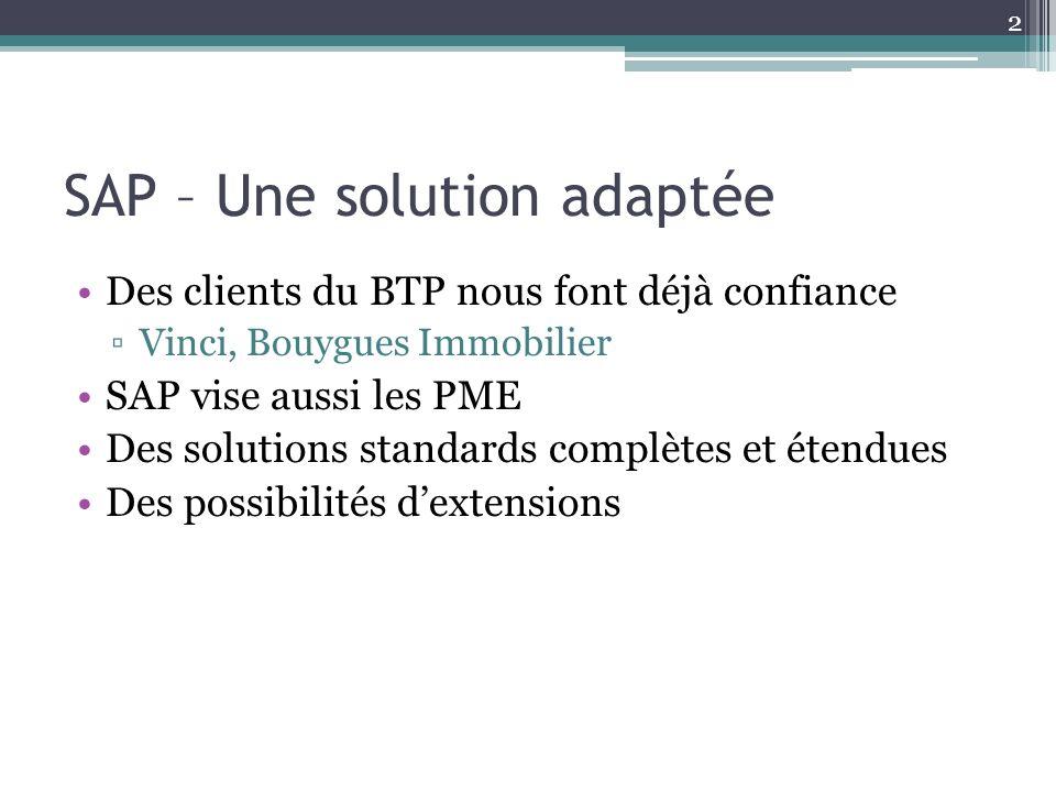 SAP – Une solution adaptée Des clients du BTP nous font déjà confiance Vinci, Bouygues Immobilier SAP vise aussi les PME Des solutions standards compl